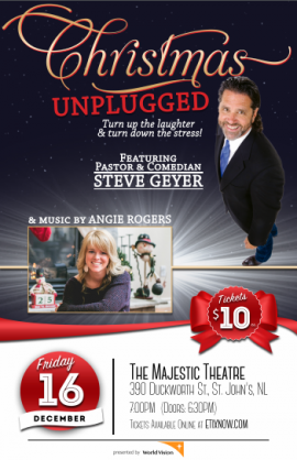 CHRISTMAS UNPLUGGED: STEVE GEYER AT THE MAJESTIC THEATRE (ST. JOHN'S) - FRI DEC 16 2016