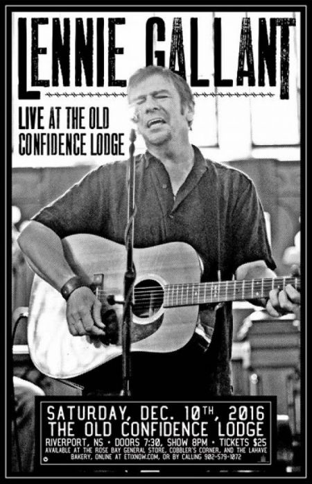 LENNIE GALLANT at The Old Confidence Lodge Sat Dec 10 2016 at 8:00 pm
