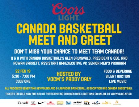 Coors Light Canada Basketball Town Hall Meeting & Reception: MEET AND GREET WITH CANADA BASKETBALL NATIONAL MEN�S TEAM at Club One Fri Feb 22 2019 at 5:30 pm