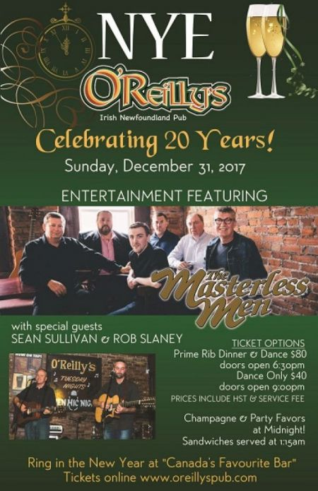 New Years Eve at O'Reilly's Sun Dec 31 2017 at 6:30 pm