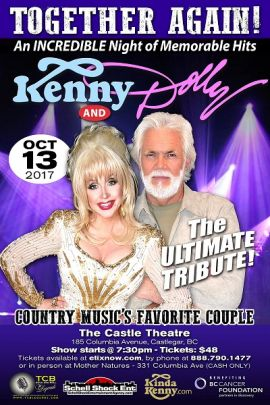 TOGETHER AGAIN! DOLLY AND KENNY - AN INCREDIBLE TRIBUTE AT THE CASTLE THEATRE (CASTLEGAR) - FRI OCT 13 2017