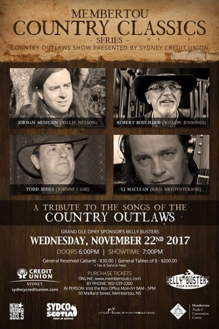 Membertou Classic Country Series: Country Outlaws at Membertou Trade & Convention Centre - Kluskap Room Wed Nov 22 2017 at 7:00 pm