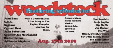 Woodstock 50 at Boyce Farmers Market Sat Aug 17 2019 at 6:30 pm