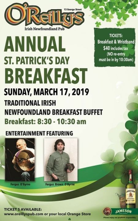 O'Reilly's Annual St. Patrick's Day Breakfast at O'Reilly's Sun Mar 17 2019 at 8:30 am