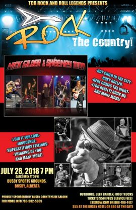 TCB ROCK AND ROLL LEGENDS PRESENTS ROCK THE COUNTRY! AT BUSBY SPORTS GROUNDS - SAT JUL 28 2018