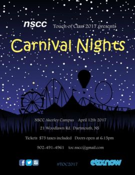 NSCC TOUCH OF CLASS 2017: CARNIVAL NIGHTS AT NSCC AKERLEY CAMPUS (DARTMOUTH) - WED APR 12 2017