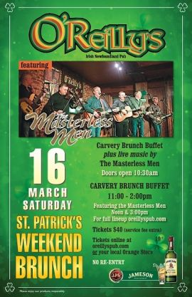 O'REILLY'S ANNUAL ST. PATRICK'S WEEKEND BRUNCH - SAT MAR 16 2019