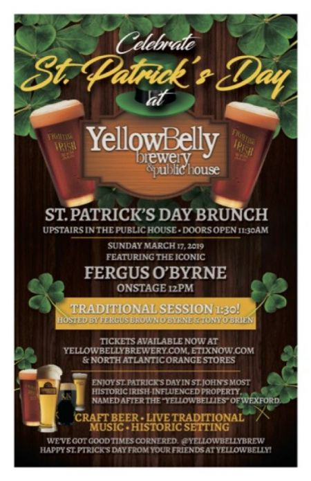 St. Patrick's Day Brunch at YellowBelly Public House Sun Mar 17 2019 at 12:00 pm